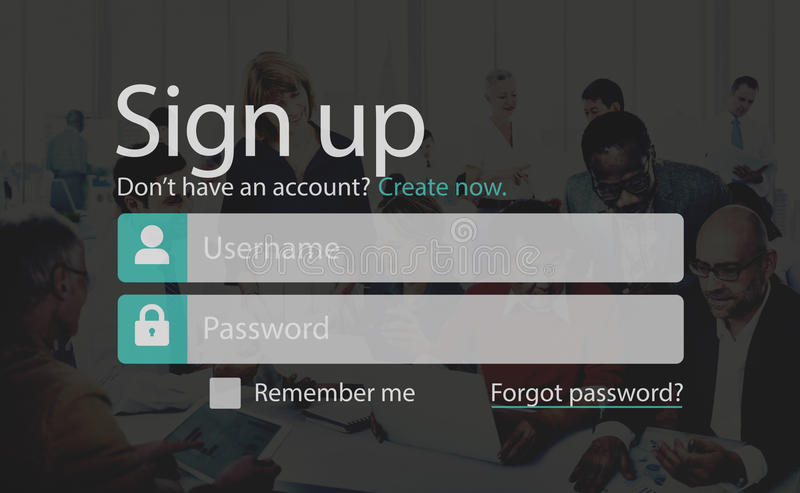 Sign Up Member Join Registration Account Submit Concept.  royalty free stock photos
