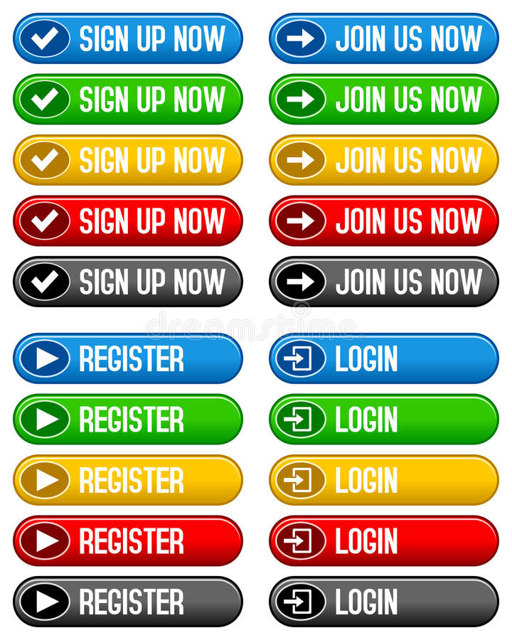 Download Sign Up Register Login Buttons Stock Vector - Image: 27908225