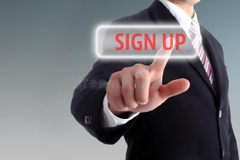 Sign up for registry our member. With your hand royalty free stock photography