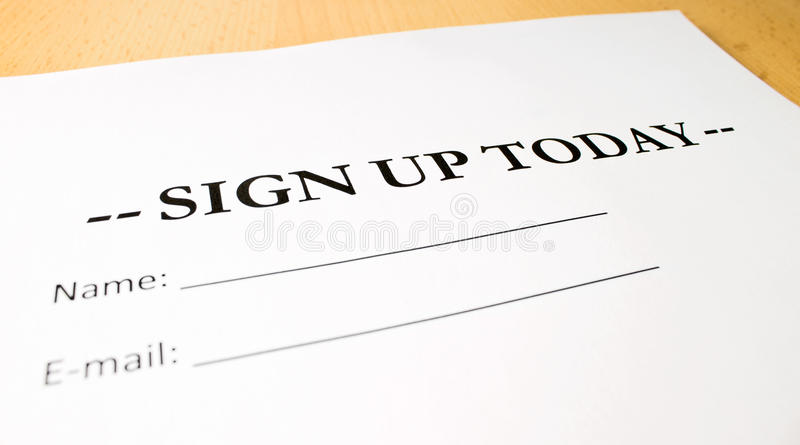 Sign up today stock photo