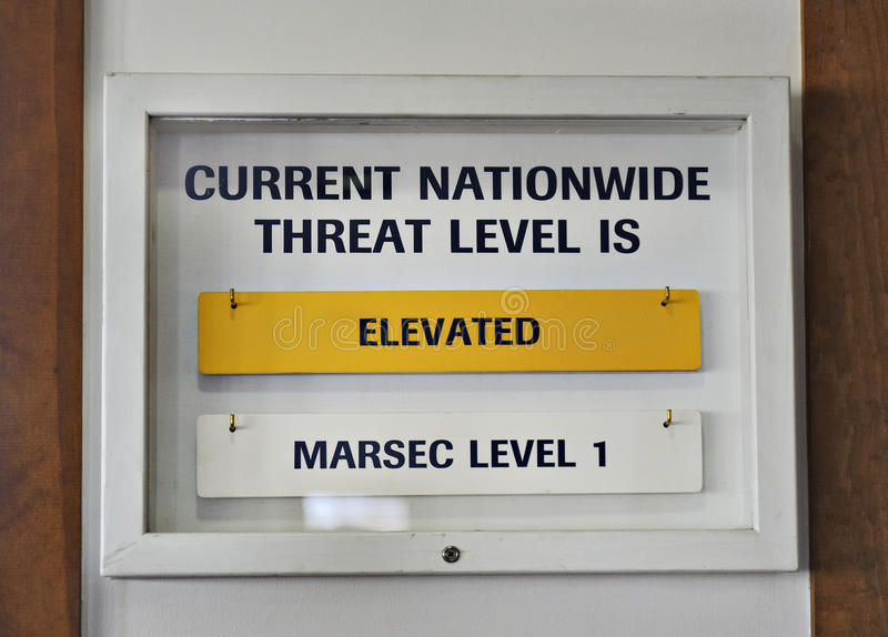 Download Sign US Terrorist Threat Level Elevated Yellow Stock Image - Image: 19469589