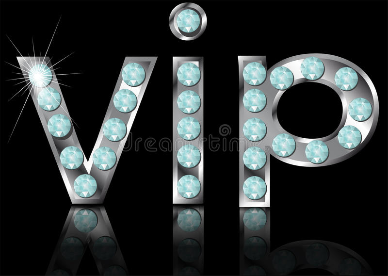 Sign vip. On black background. 10 EPS stock illustration