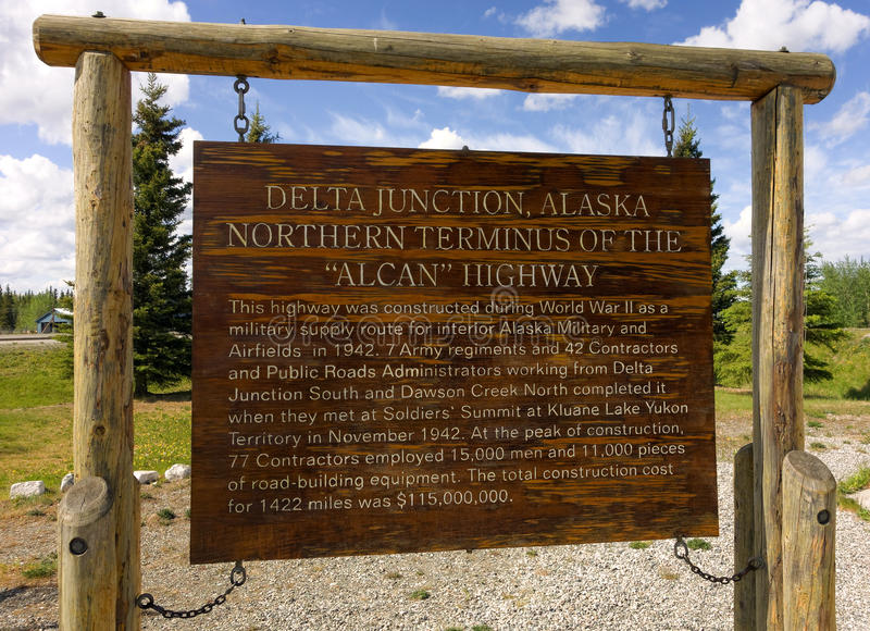 Download An Sign For Visitors At The Terminus Of The Alcan Highway Stock Photo - Image of letters, historic: 45953506