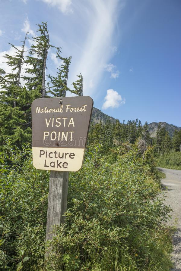 Sign for National Forest Vista Point Picture Lake Mount Baker Washington stock photos