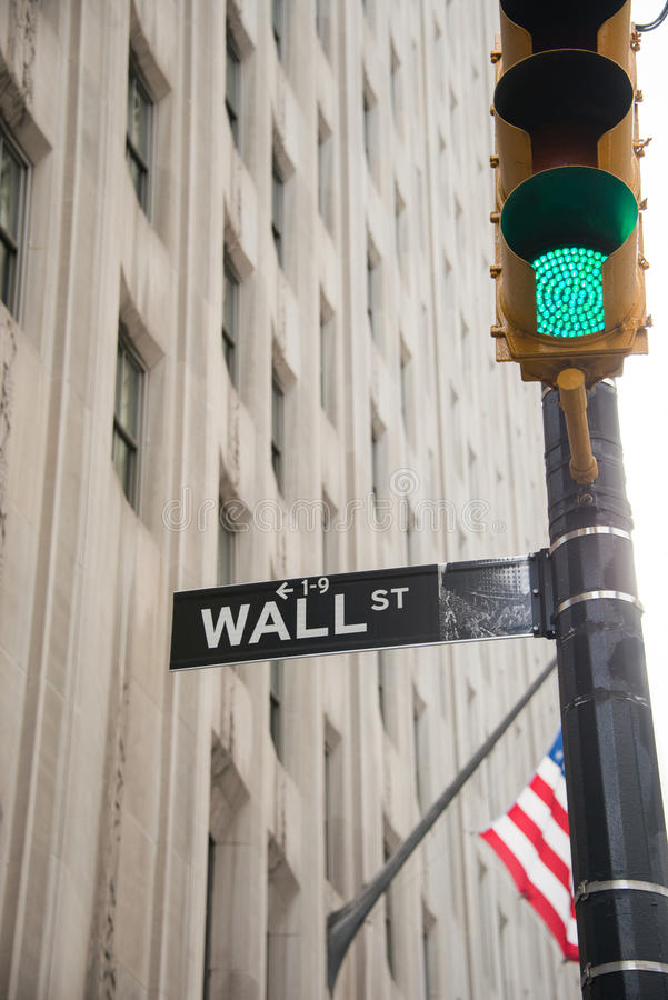 The sign on the wall street. Sign on the Wall Street stock photos