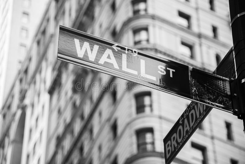 The sign on the wall street. Sign on the Wall Street stock photography