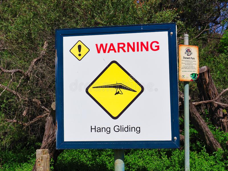 Hang Gliding Warning Sign, Australia stock images