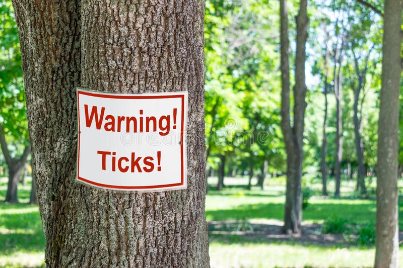 Sign Warning ticks on tree in green park background. White and r. Ed warning signboard Beware of ticks in green forest stock images