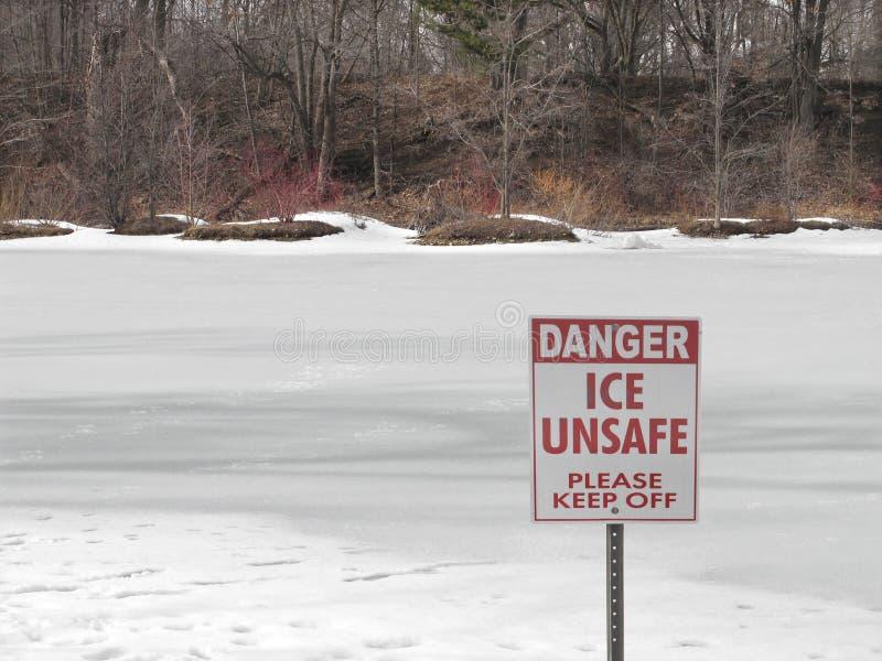 Unsafe ice sign on frozen lake. Sign warning of unsafe ice by a frozen lake with trees in the background stock image
