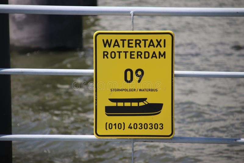 Sign of the the water taxi in Stormpolders at river Lek in Krimpen aan den ijssel royalty free stock images