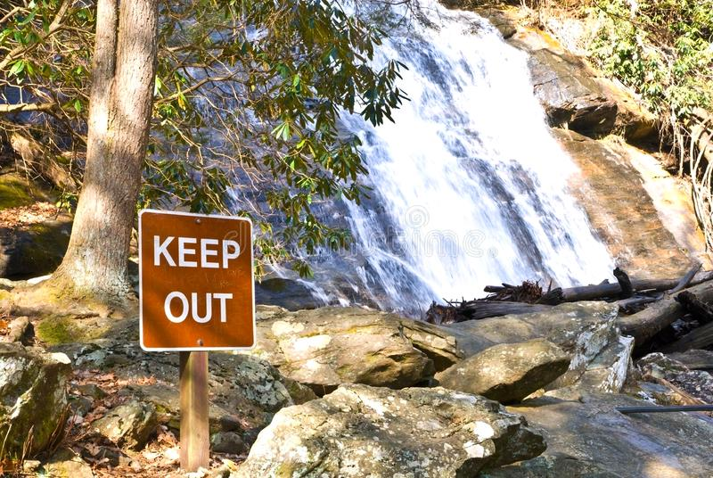 Download Sign at the Waterfall stock image. Image of abstract, sightsee - 8096601