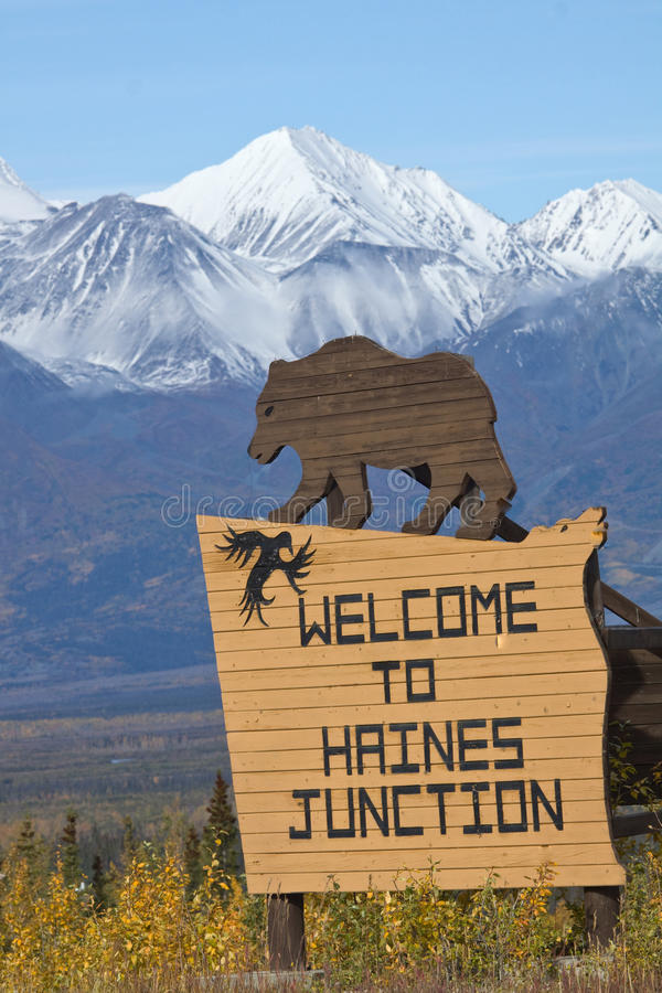 Download Sign Welcoming Visitors To Haines Junction, Yukon Stock Photo - Image of overlook, landscapes: 61491304