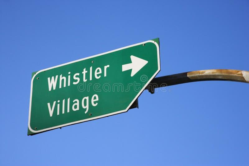 Sign for Whistler Village. Road sign for Whistler Village stock photo