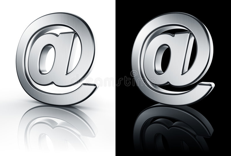 Download At Sign On White And Black Reflective Floor Stock Illustration - Image: 6335099