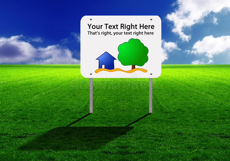 Sign on a wide green lawn stock illustration