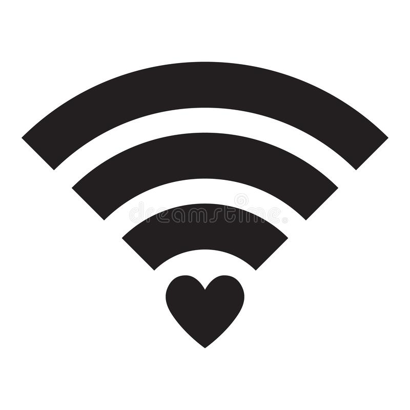 Sign Wifi with heart isolated on white background. Wi-Fi icon. Raster version. Sign Wifi with red heart isolated on white background. Wi-Fi icon. Raster version royalty free illustration