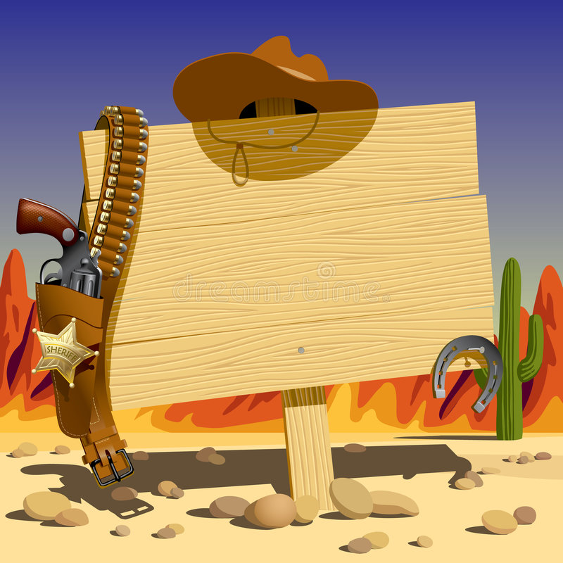 Sign in the Wild West vector illustration