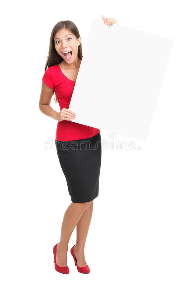 Sign And Woman Excited Royalty Free Stock Photography