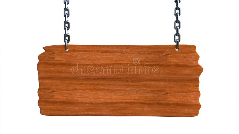 Sign wooden blank board hanging on chains and space for text stock illustration