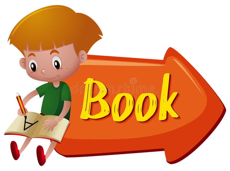 Sign with word book and boy writing. On white stock illustration