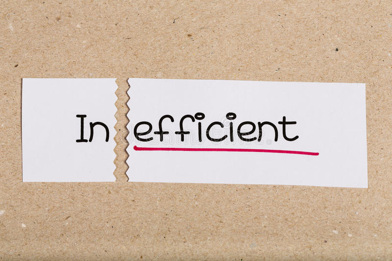 Sign with word inefficient turned into effcient. Sign with word inefficient turned into efficient stock photo