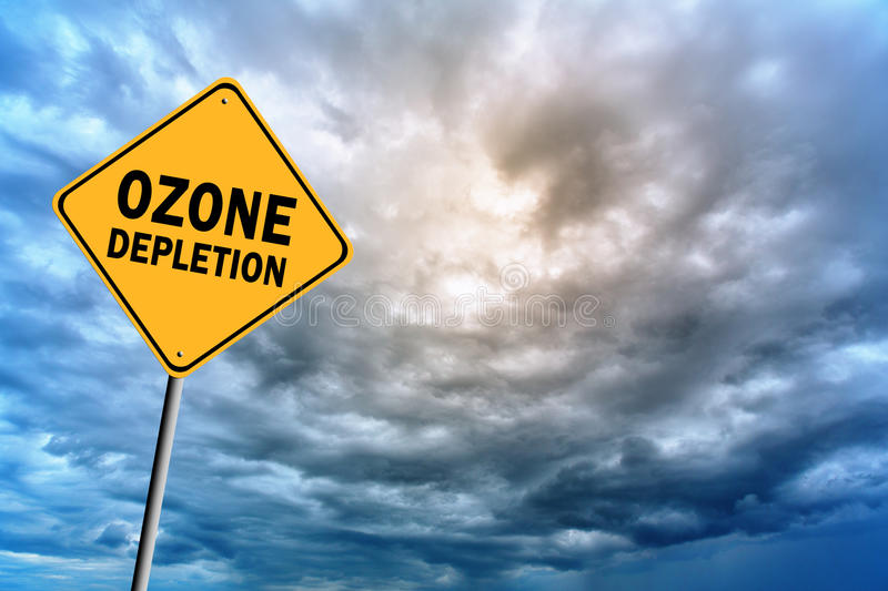 Sign with words 'Ozone depletion' and thunderclouds. Sign with words 'Ozone depletion' on a background of thunderclouds in cold tones stock photo