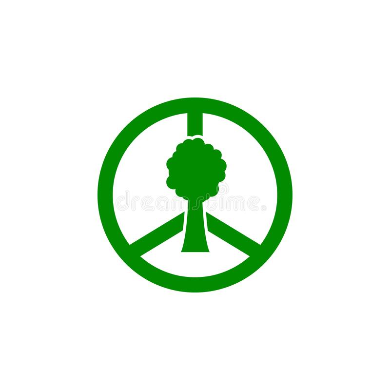 Sign world and tree green icon. Element of nature protection icon for mobile concept and web apps. Isolated sign world and tree ic. On can be used for web and stock illustration