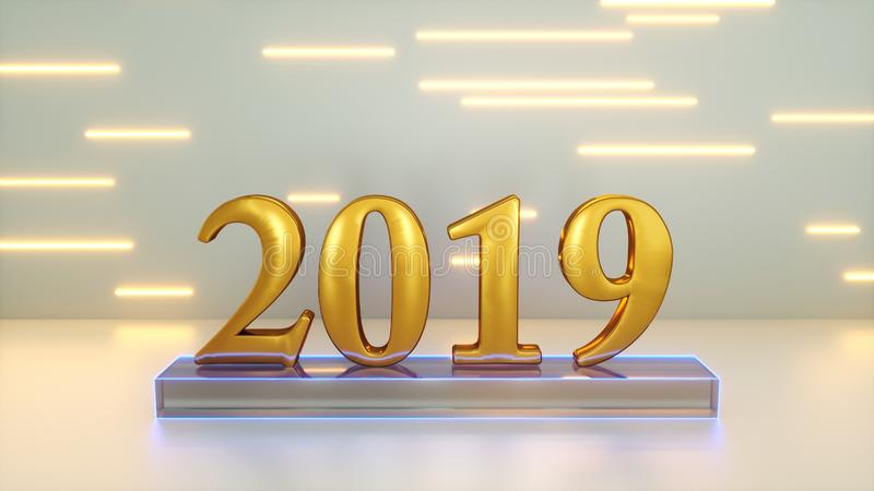 Sign 2019 year. 3d rendering of sign 2019 year stock illustration