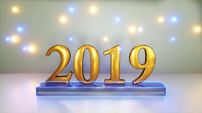 Sign 2019 year. 3d rendering of sign 2019 year vector illustration