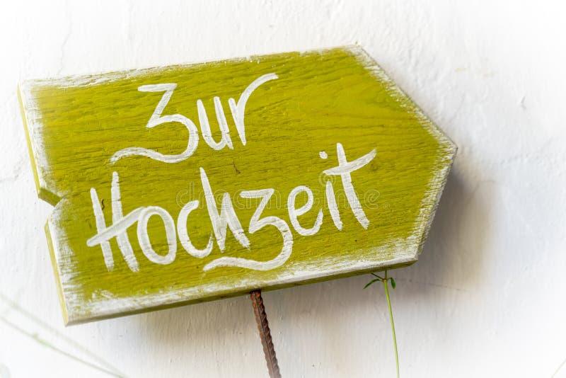 Sign `Zur Hochzeit` royalty free stock photos