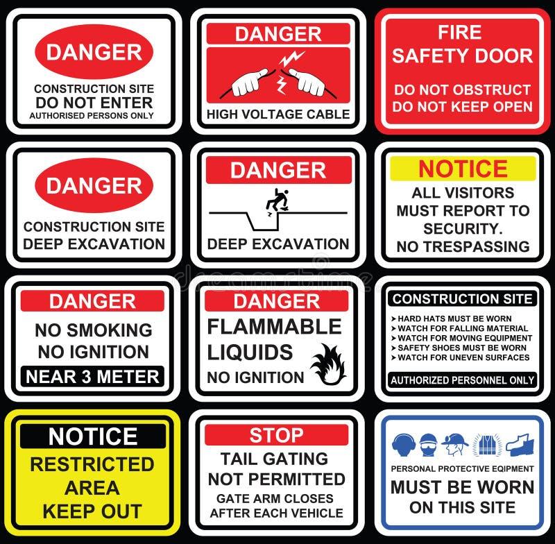 Signage, ícones e s de advertência da segurança do local da construção civil ilustração royalty free