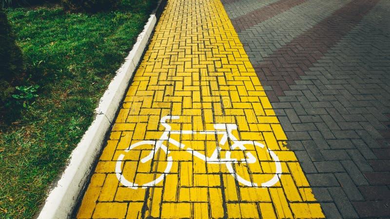 Signage майны велосипеда на улице в парке стоковое фото rf