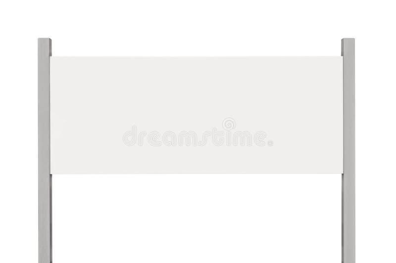 Signage доски знака белого металла, изолированный пустой пустой шильдик обочины стоковая фотография rf