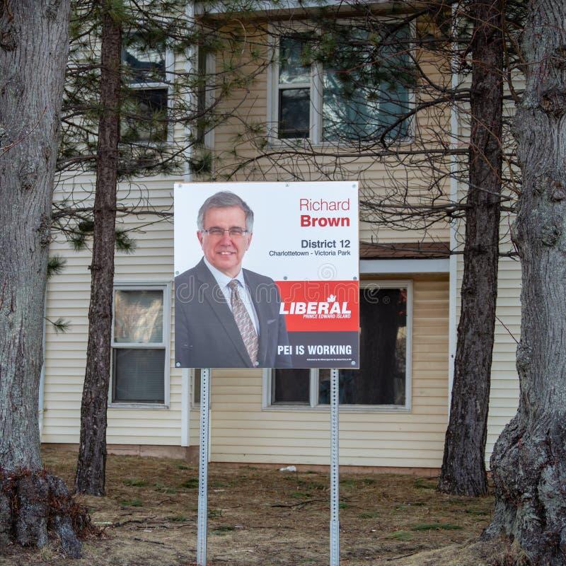 Signage Ричард Брауна, Либеральной партии PEI на захолустное избрание 2019 стоковые фото