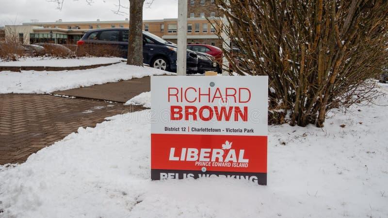 Signage Ричард Брауна, Либеральной партии PEI на захолустное избрание 2019 стоковая фотография rf
