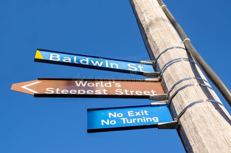 Signage улицы Baldwin которая расположена в Данидине, Новой Зеландии стоковая фотография