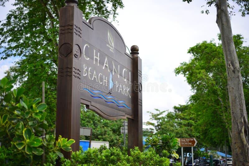 Signage au parc de plage de Changi, Singapour image libre de droits