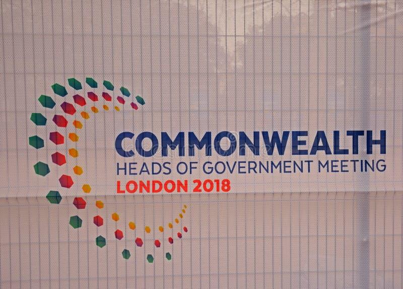 Signage av brittiska samväldethuvuden av regeringen Keeting April 2018 arkivfoto