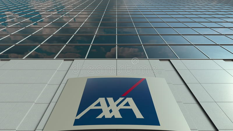 Signage board with AXA logo. Modern office building facade. Editorial 3D rendering. Outdoor signage board with AXA logo. Modern office building. Editorial 3D royalty free stock photo
