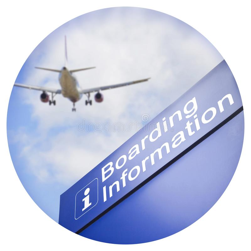 Signage for boarding information - Round icon concept image - Photography in a circle stock image