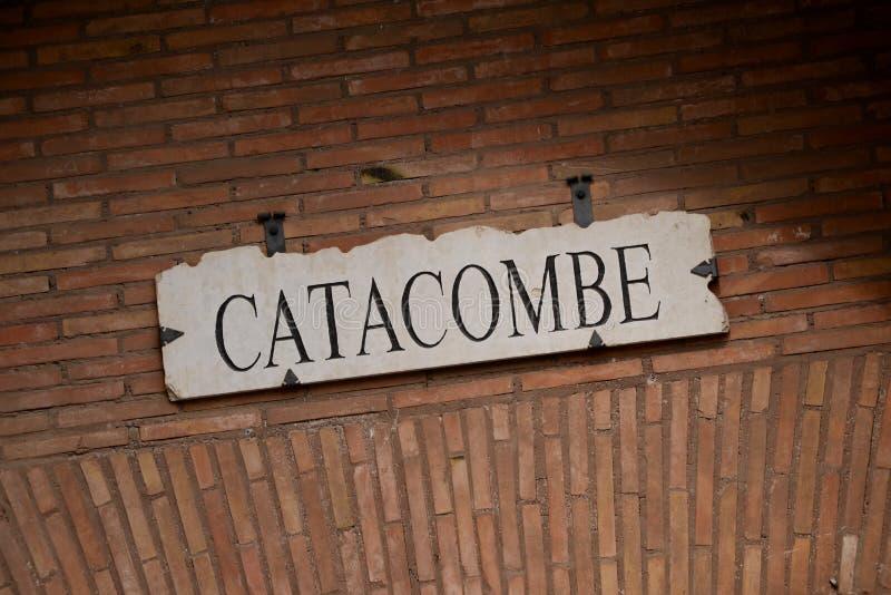 Signage de catacombes image stock