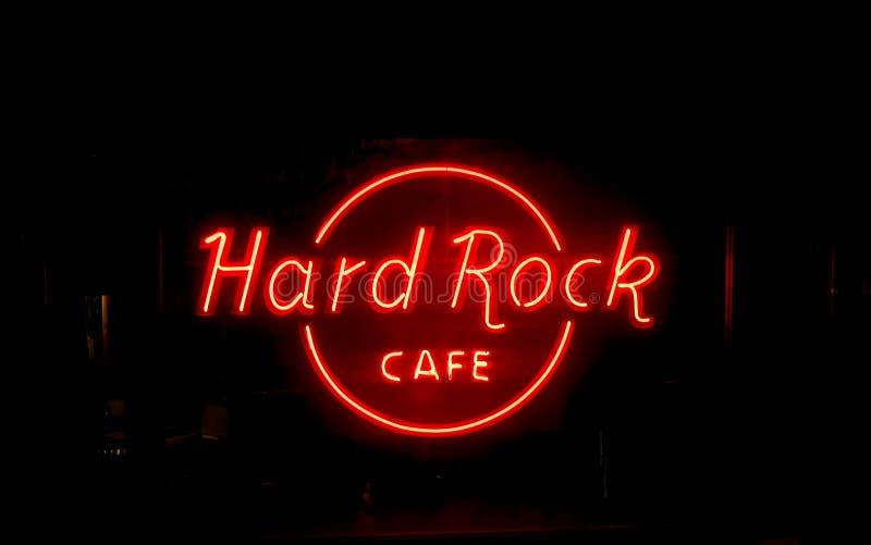Signage de néon vermelho do Hard Rock Café ilustração do vetor