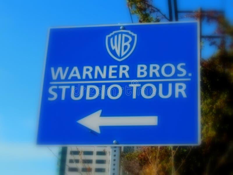 Signage dla Warner braci Pracownianej wycieczki turysycznej zdjęcia stock