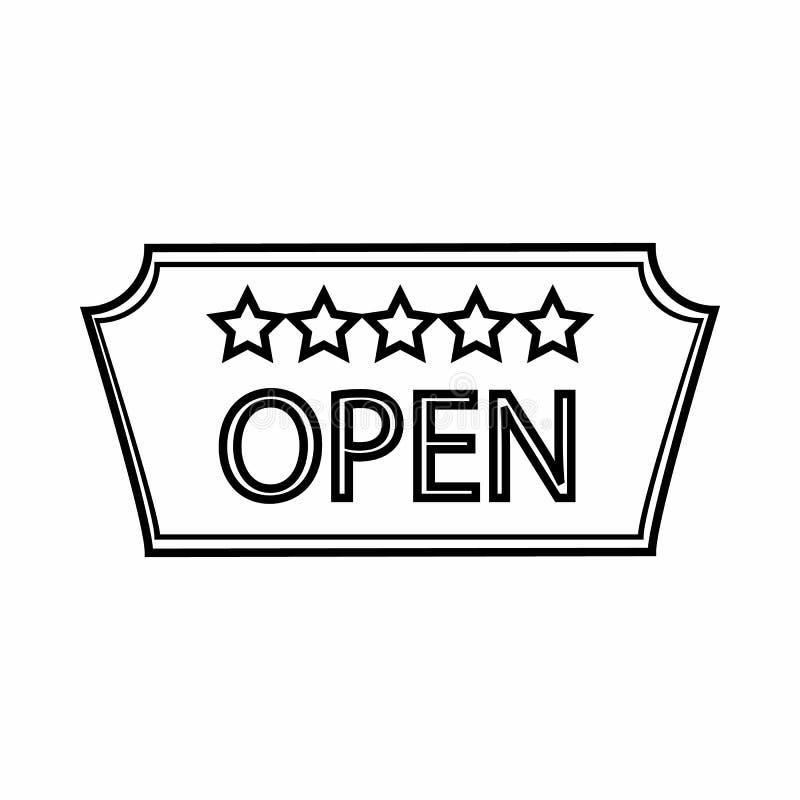 Signage do ícone aberto do hotel, estilo do esboço ilustração royalty free