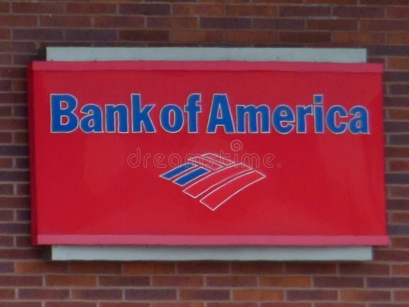 Signage do Banco Americano na parede de tijolo ilustração royalty free