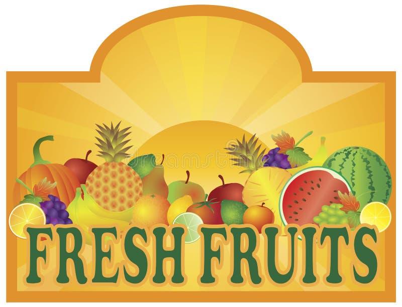 Signage do carrinho de frutas frescas com ilustração de Sun ilustração stock