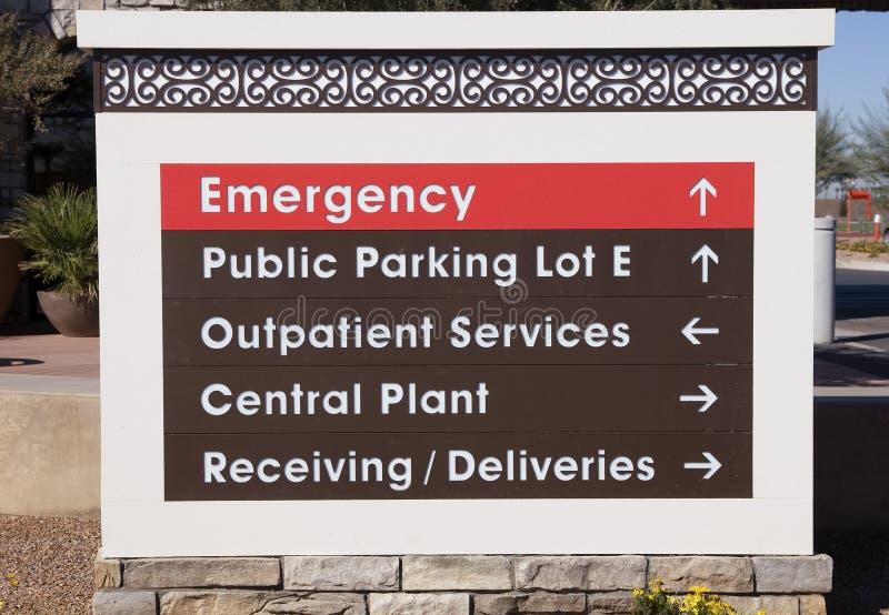Signage do hospital fotografia de stock