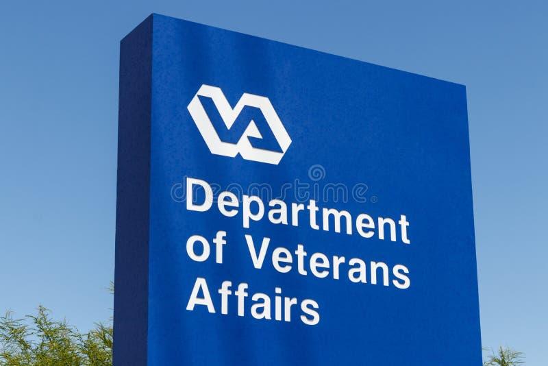 Signage e logotipo dos casos dos veteranos O VA proporciona serviços dos cuidados médicos aos veteranos militares IV imagem de stock