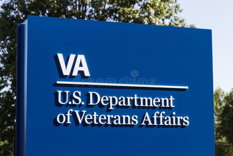 Signage e logotipo dos casos dos veteranos O VA proporciona serviços dos cuidados médicos aos veteranos militares IX foto de stock