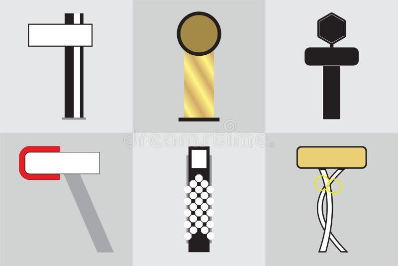 Signage ext?rieur de signe de pyl?ne de signe de monument de bureau annon?ant la construction illustration 3D illustration stock